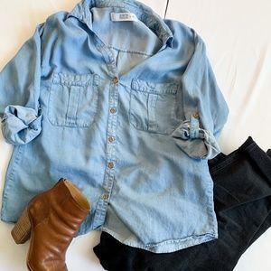 Zara Denim Button Shirt Blouse